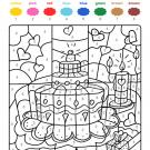 Colour by numbers: tarta de cumpleaños