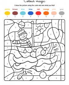 Colour by numbers: un marinero en su barco