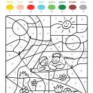 Colour by numbers: niños en una tienda de campaña