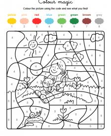 Colour by numbers: niña con un gatito en brazos