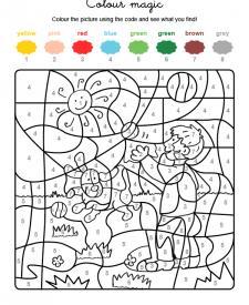 Colour by numbers: un niño y un perro jugando