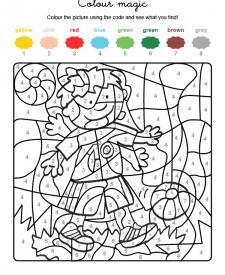 Colour by numbers: niño jugando al fútbol