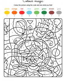 Colour by numbers: una calabaza de Halloween