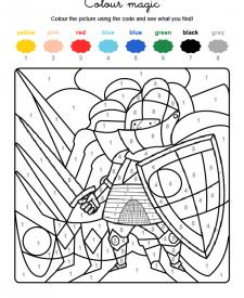 Colour by numbers: un caballero con armadura
