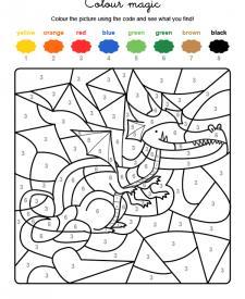 Colour by numbers: un dragón