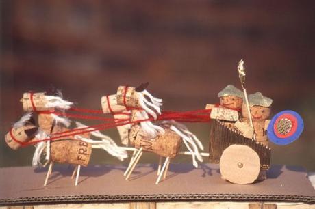 Carro de gladiadores con sus caballos: manualidad para niños