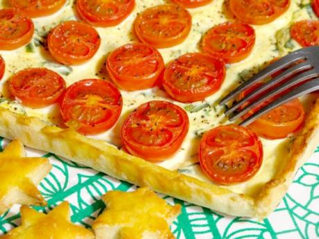 Receta de tarta de tomates con queso ricotta