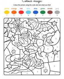 Colour by numbers: fantasma y murciélago de Halloween