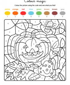 Colour by numbers: calabazas y araña