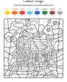 Colour by numbers: la casa de los fantasmas de Halloween
