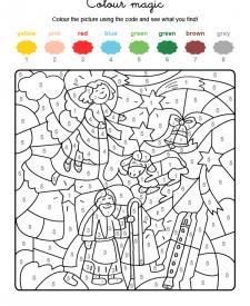 Colour by numbers: un ángel y una estrella de Navidad