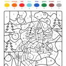 Colour by numbers: casas bajo la nieve