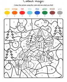 Colour by numbers: casas bajo la nieve