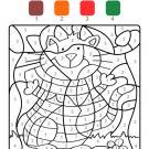 Coloriage magique en français: gato con rayas