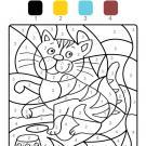 Coloriage magique en français: un gato tigre