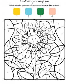 Coloriage magique en français: una margarita