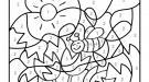 Coloriage magique en français: una abeja y flores
