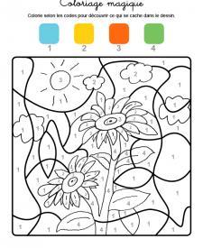 Coloriage magique en français: girasoles
