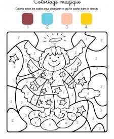 Coloriage magique en français: ángel de Navidad