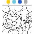 Coloriage magique en français: una ballena