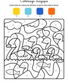 Coloriage magique en français: familia de patos