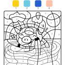 Coloriage magique en français: un cerdito