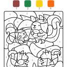 Coloriage magique en français: familia de ardillas