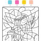 Coloriage magique en français: un hada con su varita mágica