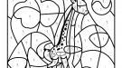 Coloriage magique en français: una jirafa en la sabana africana
