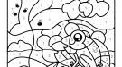 Coloriage magique en français: una rana con abejas