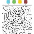 Coloriage magique en français: un conejo en el campo