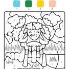 Coloriage magique en français: una oveja