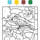 Coloriage magique en français: un pajarito cantando