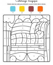 Coloriage magique en français: una cama con colcha y almohada