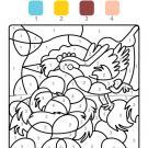Coloriage magique en français: una gallina de Pascua