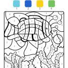 Coloriage magique en français: un pez en el agua