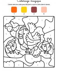 Coloriage magique en français: una gallina con sus polluelos