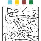 Coloriage magique en français: un mono colgado de un árbol