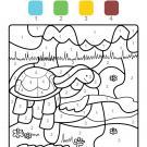 Coloriage magique en français: una tortuga en el campo