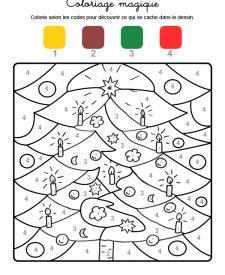 Coloriage magique en français: adornos de árbol de Navidad