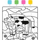 Coloriage magique en français: una vaca lechera en el campo
