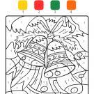 Coloriage magique en français: campanas de Navidad