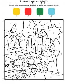 Coloriage magique en français: una vela de Navidad