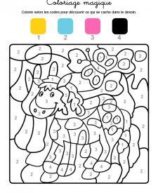 Coloriage magique en français: un poni y una mariposa