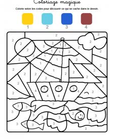 Coloriage magique en français: un velero en el mar