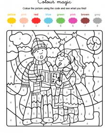 Colour by numbers: niños cantando