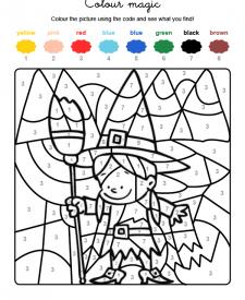 Colour by numbers: una brujita de Halloween