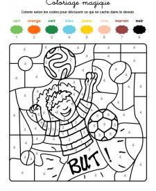 Coloriage magique en français: jugador de fútbol