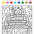 Coloriage magique en français: cumpleaños 10