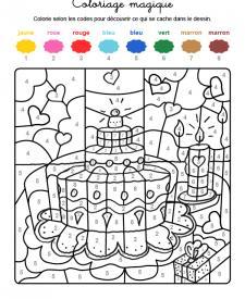 Coloriage magique en français: tarta de cumpleaños